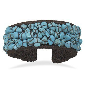 Crochet Flex Cuff with Turquoise Chips Silverbox Jewelry Co. $30.00