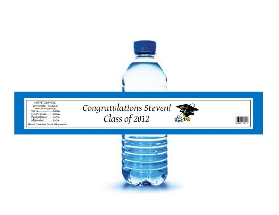 Graduation personalized water bottle labels