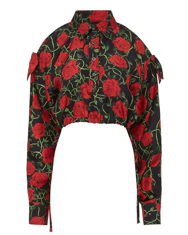 ALEXANDER WANG Rose Print Slit Sleeve Top. #alexanderwang #cloth #top