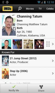 Download free IMDb Movies And TV For Android Phones V3.3.2.103320110 free mobile software.Search the world's largest collection: Over 2 million movie and TV titles.