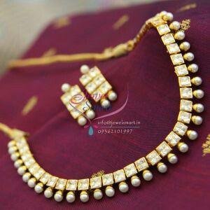 kundan and pearl necklace with earings