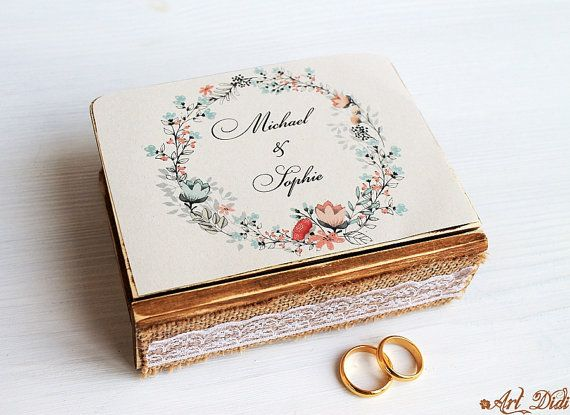 wedding wreath box wedding box ring bearer box wreath by ArtDidi