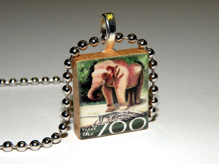NEW! Vintage Zoo Poster Elephant Scrabble Tile Necklace By HArtworks  #Hartworks #Chain