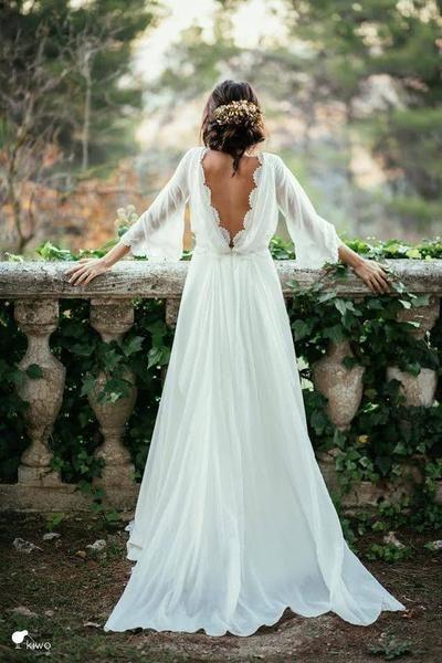 Lace Backless Wedding Dress,Vintage Wedding Dress,Long Sleeve Bridal Gown,V Back Lace Chiffon Wedding Dress