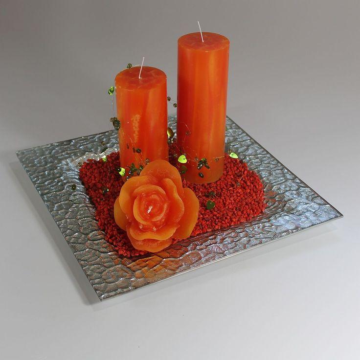 Dekoration - På glasfad med lys i brændt orange | mystone.dk