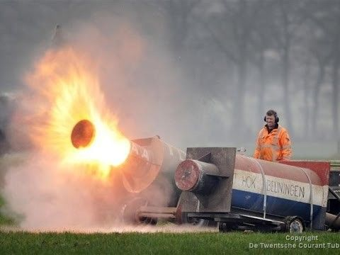 Dutch people celebrate New Years by shooting footballs out of milk churns using carbide
