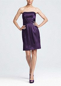 This short charmeuse dress is fun and stylish. The strapless neckline is sleek and fun. It has a ruched waist and pockets! Wear this dress to a wedding and again for another special occasion. The basic silhouette will keep this dress in your closet for years. Fully lined. Back zip. Imported polyester. Dry clean only. Available in store in sizes 2-30. Get inspired by our colors.. To protect your dress, try our Non Woven Garment Bag. Lightweight shimmery satin with a soft, contouring drape.A…