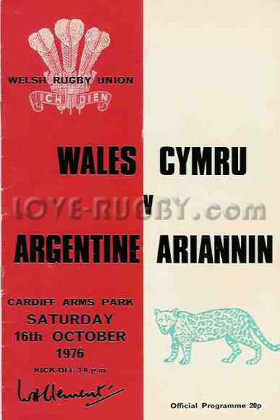 #rugby today 16/10 in 1976: Wales 20-19 Argentina - rugby test programme from Cardiff