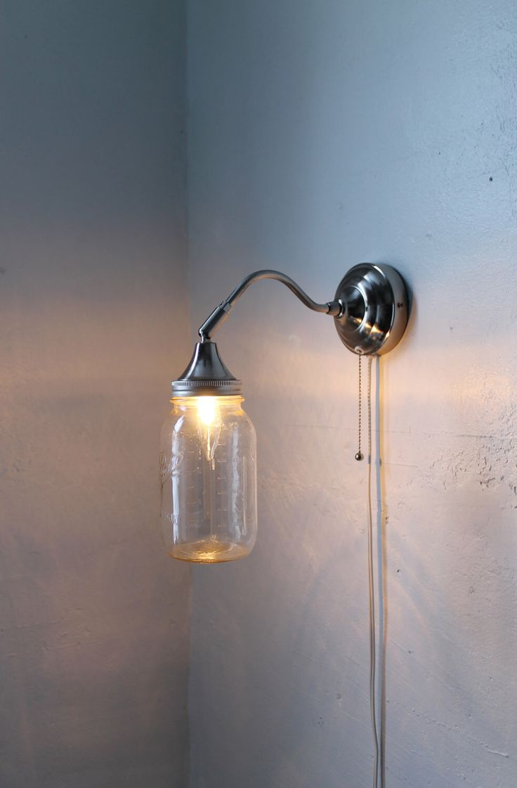 Best 25 mason jar sconce ideas on pinterest mason jar country mason jar sconce lamp industrial stainless steel gooseneck wall sconce with a clear quart mason amipublicfo Gallery