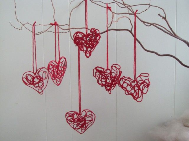 """Lovely """"yarn hearts"""" are perfect for children to make & hang up!"""