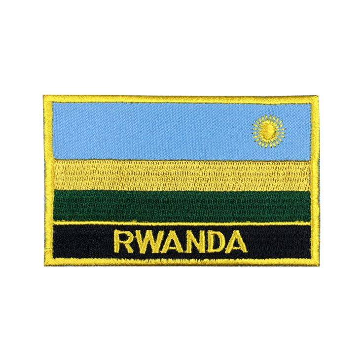 Rwanda Flag Patch Embroidered Patch Gold Border Iron On patch Sew on Patch Bag Patch meet you on www.Fleckenworld.com