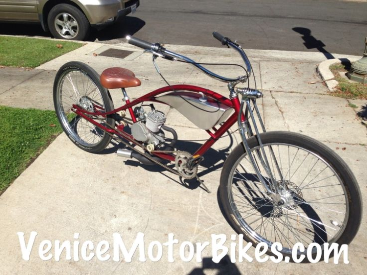 Motorized bicycle, stretch cruiser, dyno roadster, custom bicycle, motorcycle replica