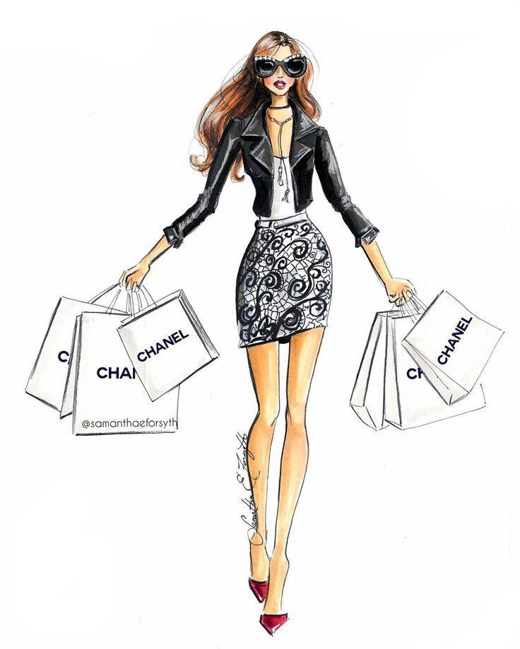 Chanel Shopping Spree Fashion Illustration By Samanthaeforsyth Prints Available At Www Samantheforsythny Fashion Illustration Print Fashion Sketches Fashion
