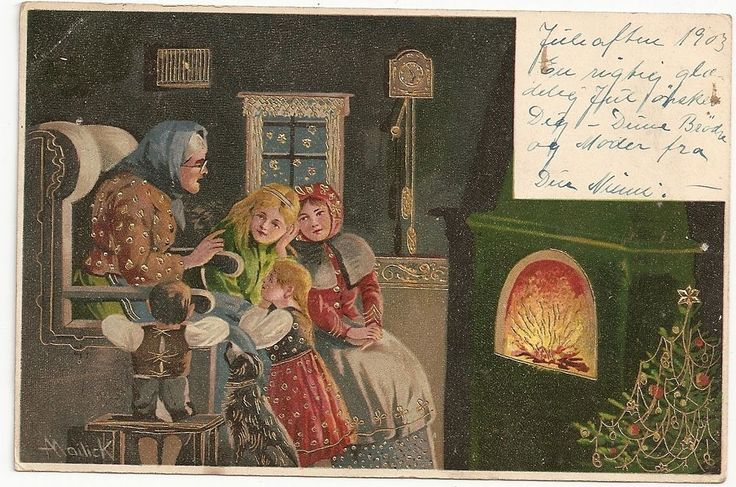 Grandma tells story girls dog Christmas Tree, artist Mailick art Norway Postcard