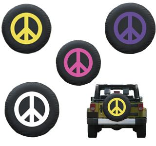 Peace Sign Jeep Tire Covers White Black Liberty Kj