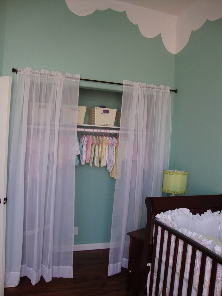We added more sheer curtains and put a light in the closet - Room with no closet ...