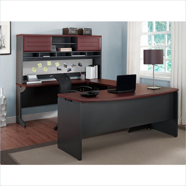 Altra Furniture Pursuit U Shape Office Set In Cherry And Gray