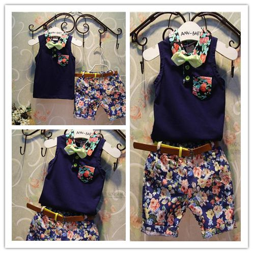 Hu sunshine wholesale new 2014 Fashion girls and boys summer floral sleeveless t-shirt + pants suit children clothen 2pcs set $64.96