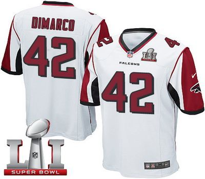 nike falcons 42 patrick dimarco white super bowl li 51 youth stitched nfl elite jersey .