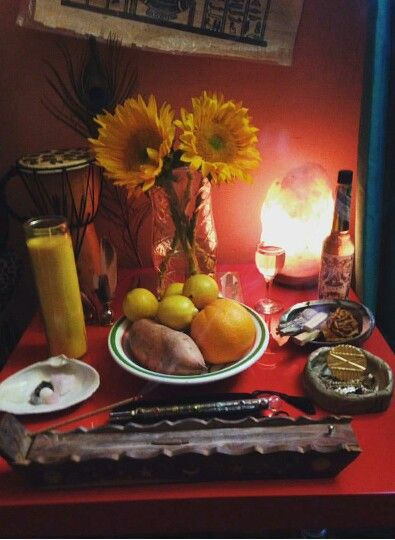 Oshun Altar (I would use 5 sunflowers though)