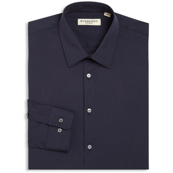 Burberry Slim-Fit Seaford Dress Shirt (11750 TWD) ❤ liked on Polyvore featuring men's fashion, men's clothing, men's shirts, men's dress shirts, apparel & accessories, navy, old navy mens shirts, mens long sleeve dress shirts, mens slim fit long sleeve t shirts and burberry mens dress shirt