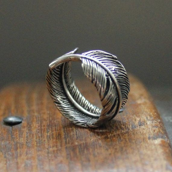 Raven Feather Bypass Ring cast in Solid White Bronze by mrd74, $35.00