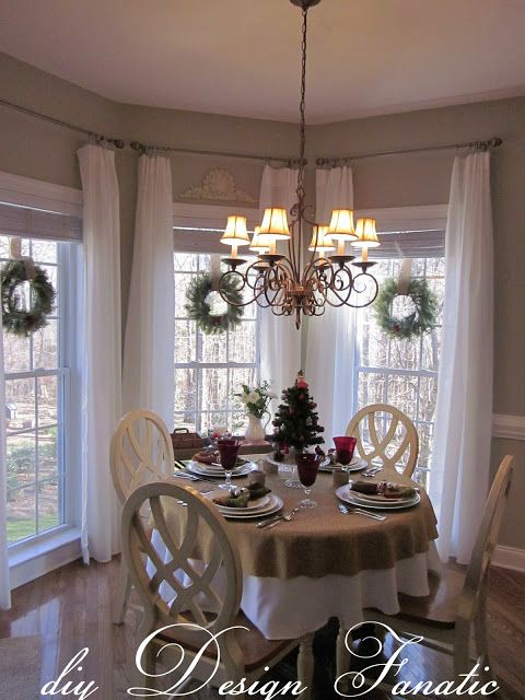 Best 25 breakfast nook curtains ideas on pinterest corner window curtains corner window - Ideas of window treatments for bay windows in dining room ...