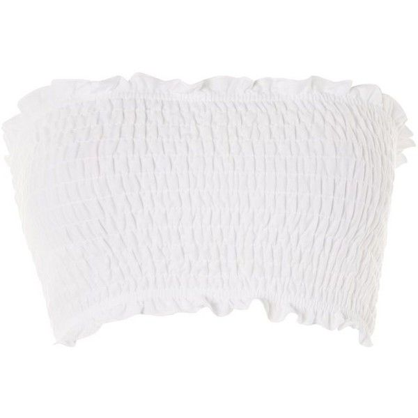 TopShop Petite Shirred Bandeau Top (€15) ❤ liked on Polyvore featuring tops, bandeau top, shirred top, white bandeau top, evening tops and topshop tops