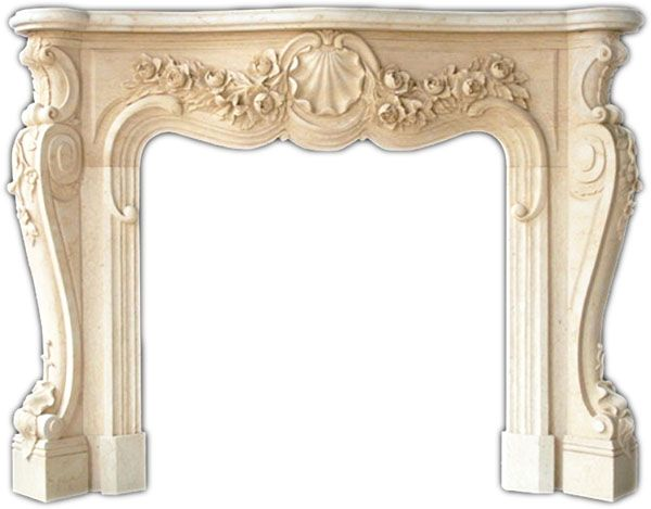Victoria French Marble Fireplace Mantel Hand Carved Marble Carvings Surround