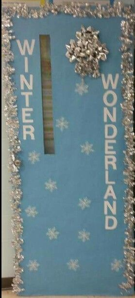 Winter Wonderland Classroom Door Decoration. With this type of decoration, it can stay up until the end of January!