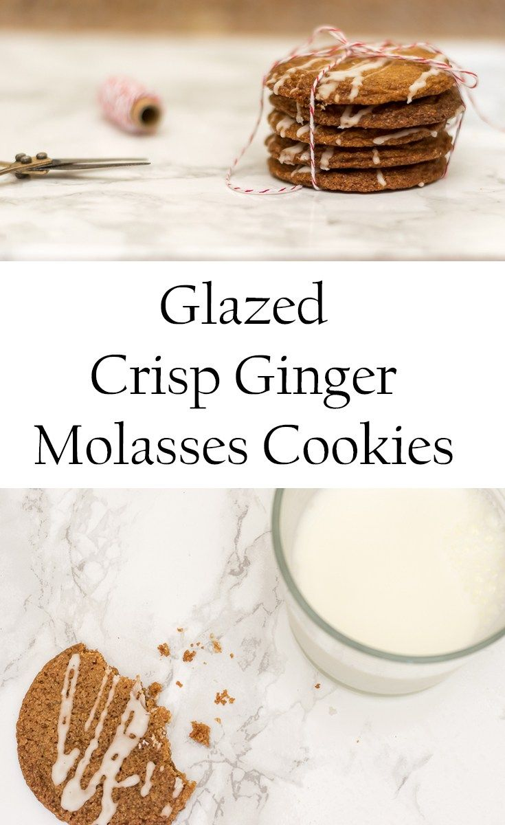 Recipe for Glazed Crisp Ginger Molasses Cookies and links to 6 more Holiday and Christmas Cookie Recipes, just in time to plan your baking!