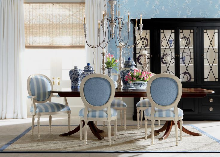 Create A French Style Dining Room With Contrasting Fabrics. #EthanAllen  #EthanAllenBellevue #AlsaceSky