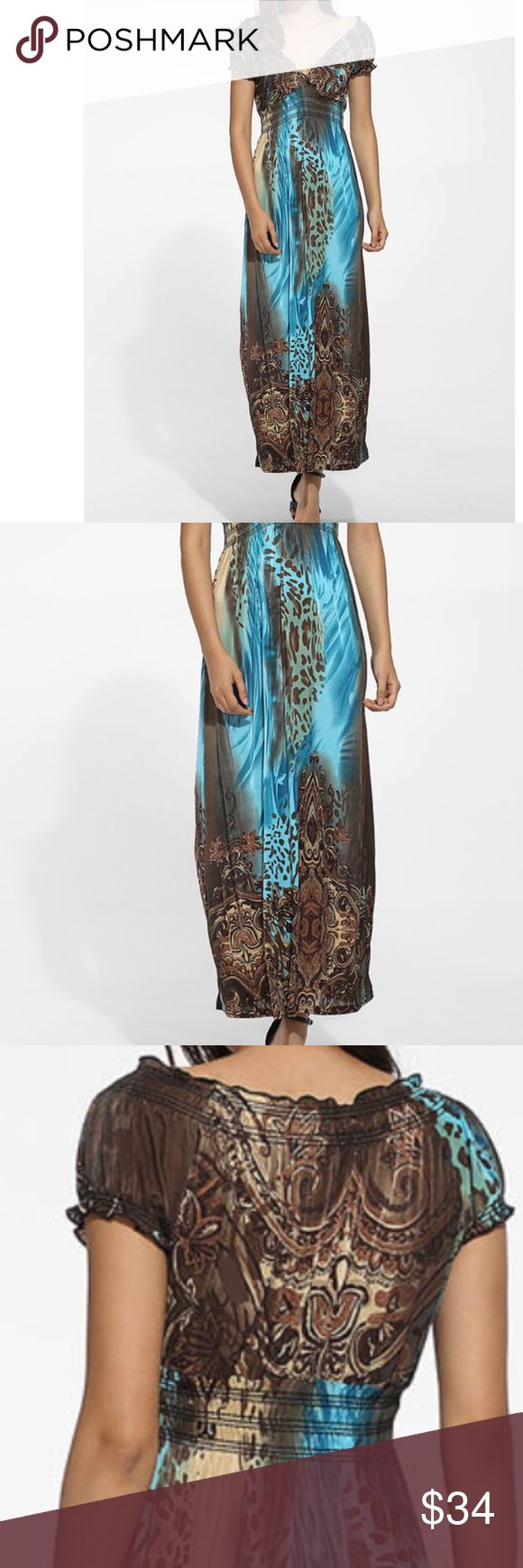 BOHO Teal and Brown Maxi Dress - NWOT Stunning and playful in design. This maxi makes you feline one of a kind.  Stylish, fashionable and always desirable -Bohemian Maxi Dress  Lightweight breathable fabric.   Elastic waist, gathered to flatter. Sexy stretch, elastic neckline, easy to wear on the shoulders or off.   This dress was made to showoff your fabulous figure with this wildly fun and flirty pattern in colors of teal blue and brown Dresses Maxi