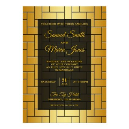 Gold Parquet Tile Pattern Wedding Invitation - modern gifts cyo gift ideas personalize