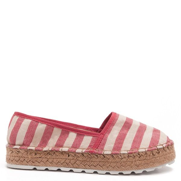 Red striped espadrilles with red piping and double rope sole.