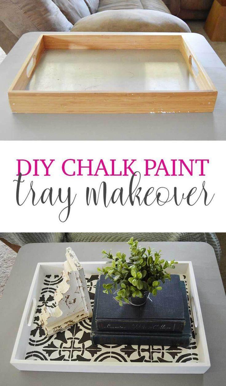 Farmhouse Wooden Tray Diy Chalk Paint Tray Makeover Wooden Tray