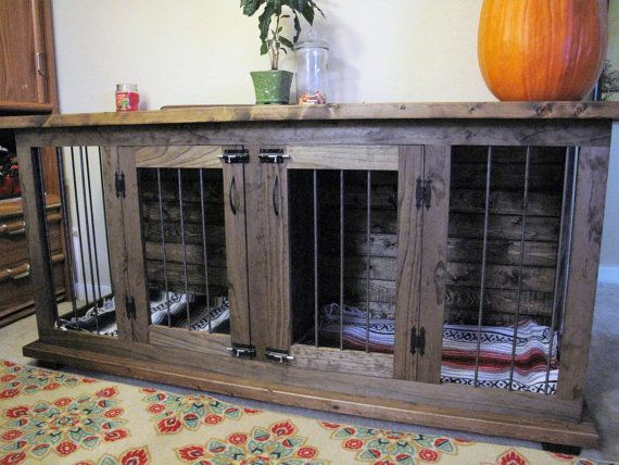 custom double dog kennel crate furniture hinged coffee or entry table tv stand pet crate kennel furniture solid wood