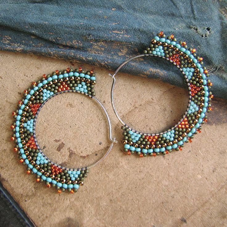 Triangle Sterling Hoops Beaded Silver Earrings Green Orange
