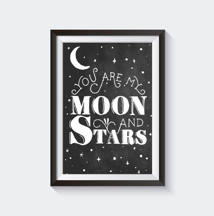 You are my Moon and Stars, Moon and Stars Wall Hanging, Nursery Decor, Nursery…