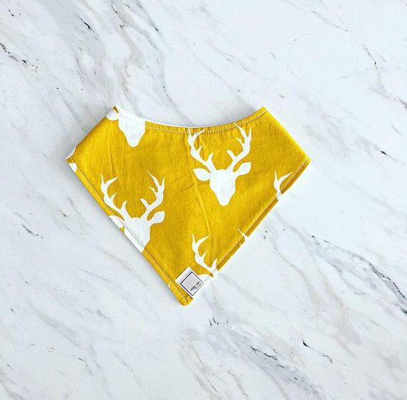 Mustard Buck Baby Bib   Yellow Deer Bib   Deer Bib   Mustard Bandana Bib   Toddler Bib   Infant Bib   Gender Neutral Bib   Woodland Bib  