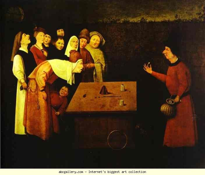 Йеронимус Бош.  The Conjuror.  Галерия Олга - The Conjuror.  1500S.  Маслени панел.  Musée Общински, Saint-Germain-ен Ле, Франция: