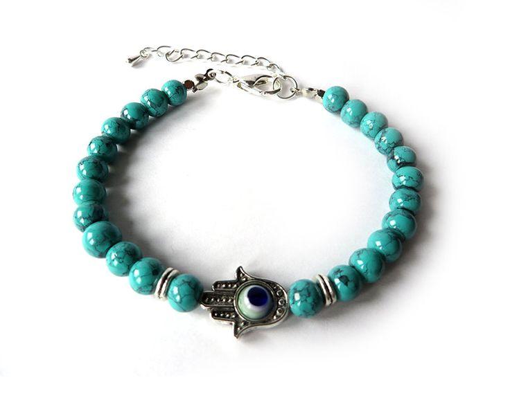Bracciale Uomo donna MANO DI FATIMA braccialetto in perle portafortuna HAMSA khamsa
