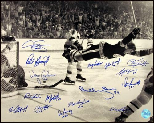 "#Bobby_Orr Autographed ""The Flying Goal"" - FLYING GOAL 16x20 http://www.newenglandusa.com/Boston-Bruins/boston-bruins-memorabilia-collectibles.php"