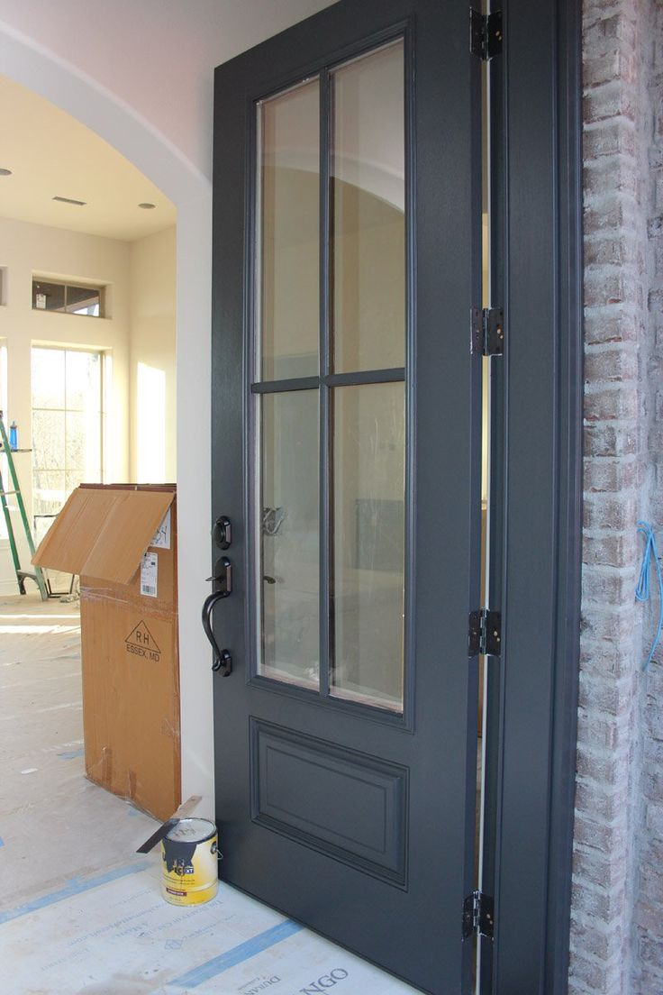 Front Entry Door Painted with Benjamin Moore Wrought Iron BM 2124-10