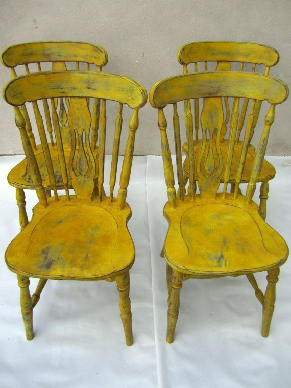 4 chairs Annie Sloan Chalk Paint English Yellow, Paris Grey+Dark Wax
