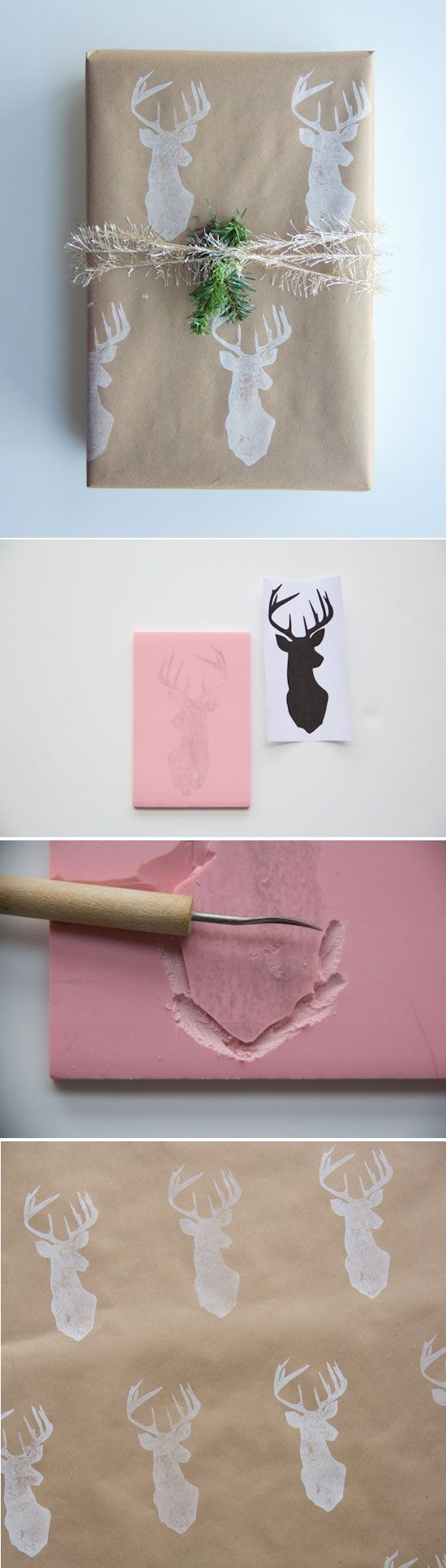 DIY : Wrapping Paper + Stamp Tutorial by @Chelsea Rose Rose Costa for Poppytalk  Such a cute idea!  Was planning to do silver on kraft paper anyway but just had to order that stamp from deer head stamp from etsy!