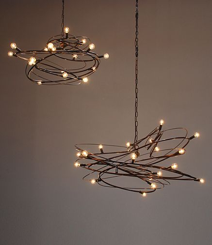 Nebulla: Sculptural steel chandelier - think reclaimed christmas light strands and found wire!