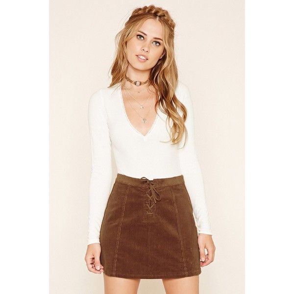 Forever21 Corduroy Lace-Up Mini Skirt ($16) ❤ liked on Polyvore featuring skirts, mini skirts, camel, corduroy mini skirt, forever 21, a-line skirts, camel skirt and corduroy skirt