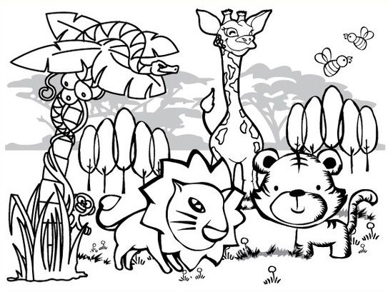 jungle coloring pages for kids - Coloring Pages Animals Printable