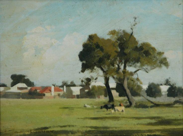 Town Paddock and Cows, Oil, Albert Ernest Newbury